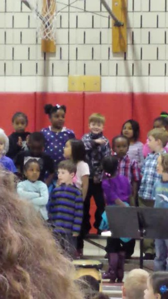 Mason's school concert, kindergarten, age 5.5., complete with his own choreography.