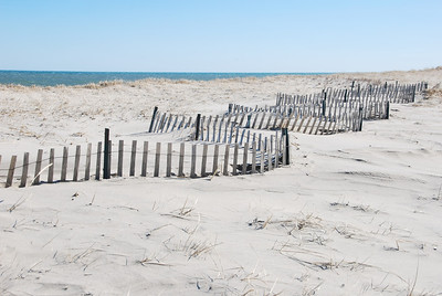 Nauset Beach - the fence is half it's normal size due to the sand.
