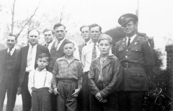 "Left to right: Back row; Hiram Reed, Adam Edward Polka, Marion R Polka, Edward Wick, Walter Alfred Smock, Harry Matell, Robert Edward Wick Front row; Hiram ""Bubba"" Reed Jr, James V Polka, Robert Lee Grimmel Circa 1942"
