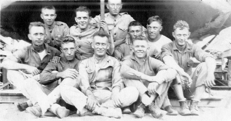 Walter Authur Smock(top row, 2nd from left) in the Marines, circa 1917
