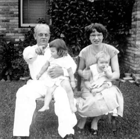 Grandpa Walter Arthur Smock holding Jan, Maria Smock holding Jimmy