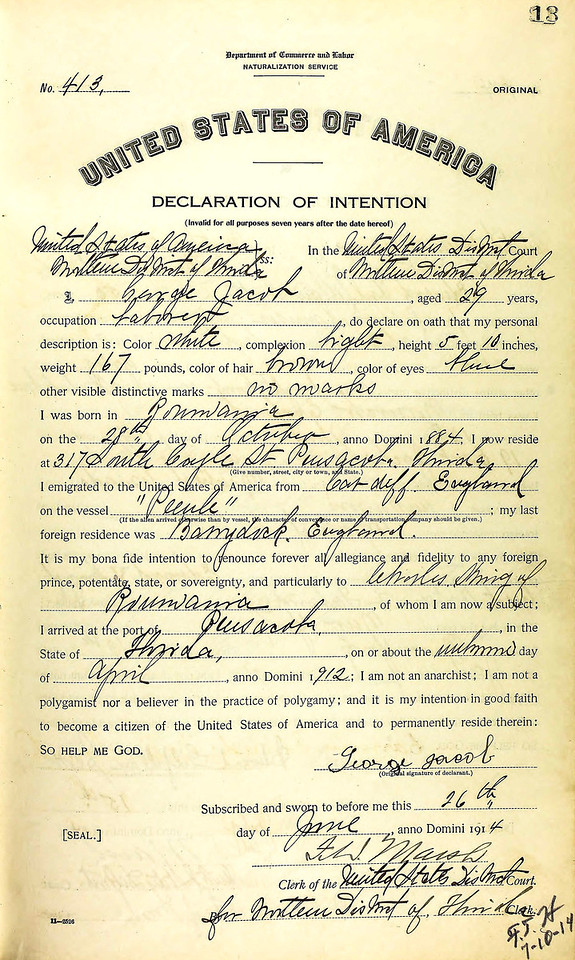George Jacob Naturalization - Declaration of Intention