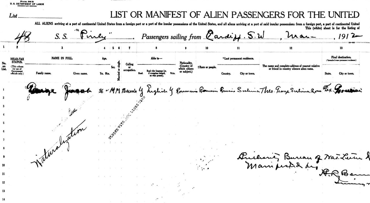 George Jacob Naturalization - Ship Manifest (1)