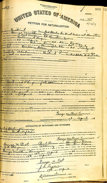 George Samonas Naturalization - Declaration of Intention Witness to George Jacob naturalization