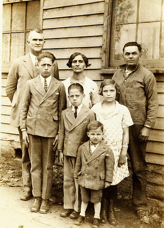 Left to right; Back row; Paris Burgin, Susie Nichols Burgin, James Madison Burgin Middle row; Elmer, Gilbert and Clara Burgin Front row; Raymond Burgin