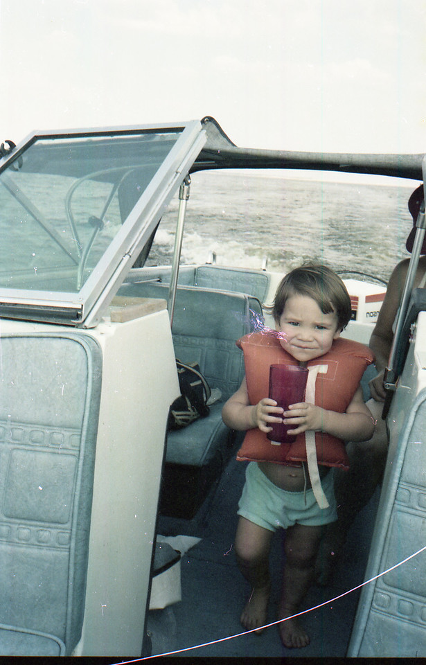 Jacob in boat at Lake Somerville
