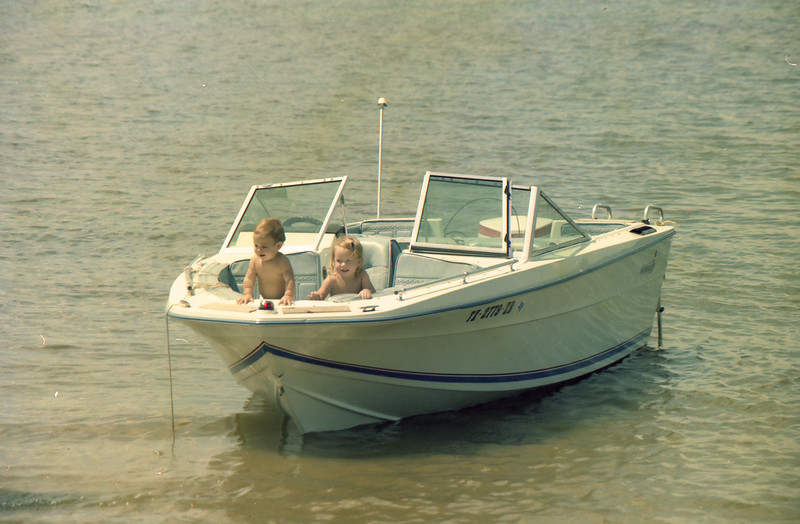 Jessica and Jacob in boat at Lake Somerville