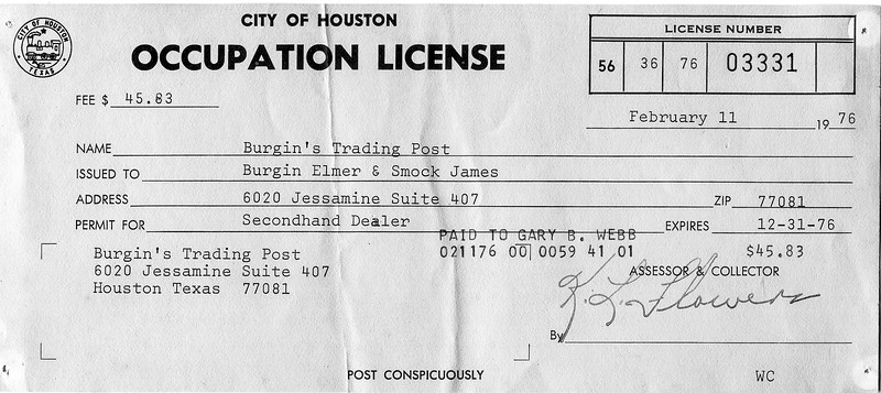 1976 Burgin's Trading Post City of Houston Occupation License