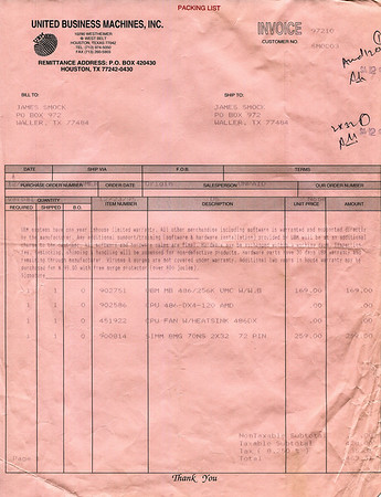 Christmas 1995 UBM computer parts receipt