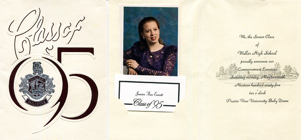 1995 Jessica Waller High graduation announcement