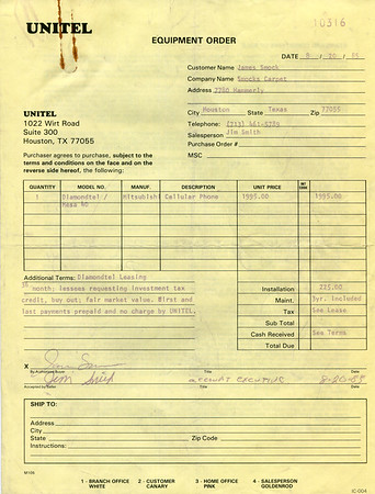 1985 Smock's Carpet Care Unitel cell phone lease