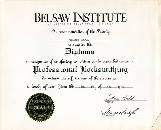 1980 Cherry Smock professional locksmith diploma