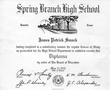 1970 Jim's Spring Branch High diploma