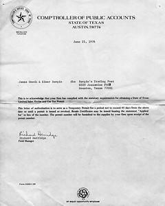 1976 Burgin's Trading Post sales tax permit