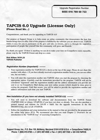 Tapcis 6.0 upgrade