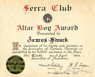 1964 Jim's Serra Club Altar Boy Award