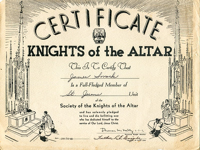 1965 Jim's Society of the Knights of the Altar membership certificate