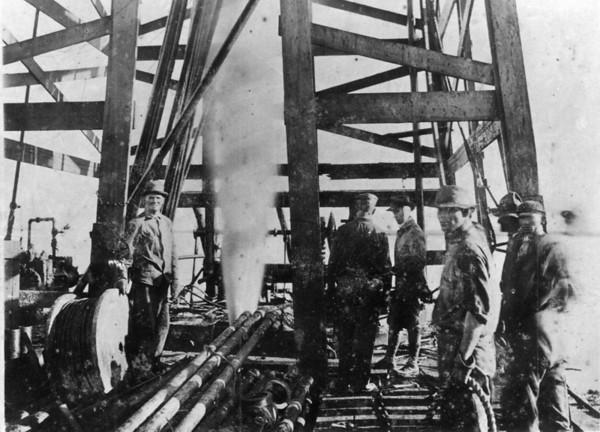 Papa George Jacob on left. Goose Creek Texas oilfield 1917
