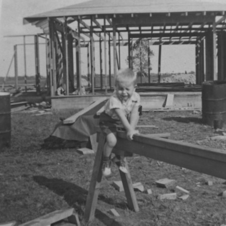 Jim at the new home at 2132 Pech Rd. in Spring Branch.  October 20, 1954