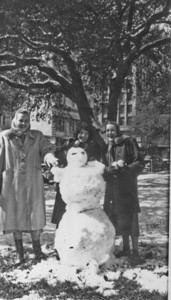 Snowman on the grounds of the Harris County Courthouse 1100 block of Preston Houston, Texas  January 31, 1949