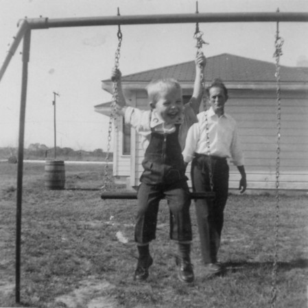 Rip and Jim Smock at home in Spring Branch.  March 1956