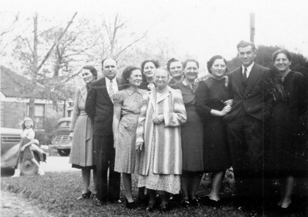 Anna Maduzia Polka and her nine children. Left to right; Agnes Polka Smock, Adam Edward Polka, Sophia Polka Reed, Alice Polka Weber, Anna Maduzia Polka, Vick Polka Wick, Josie Polka Riess, Beatrice Polka Grimmell, Marion Polka, Lucile Polka Matell, Circa 1940