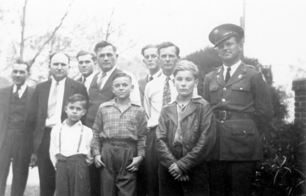 "Left to right: Back row; Hiram Reed, Adam Edward Polka, Marion R Polka, Edward Wick, Walter Alfred Smock, Harry Matell, Robert Edward Wick Front row; Hiram ""Bubba"" Reed Jr, James V Polka, Robert Lee Grimmel Circa 1942"