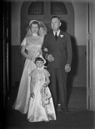 Maria, George Jacob, Sharon Curry  Maria Jacob and Walter 'Rip' Smock Wedding September 9, 1950  St. Joseph Catholic Church Houston, Texas
