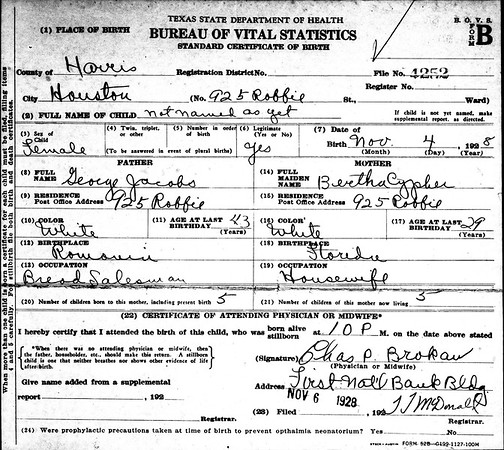 Maria Delores (not named as yet) original birth certificate