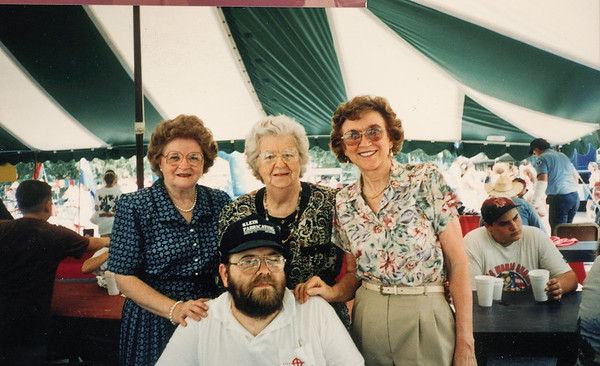 St. Joseph Catholic Church bazaar in New Waverly Texas September 3, 1995  James Smock with cousins Angeline Buckner Bilek, Rose Buckner Klodzinski and Mary Ann Stash Ulrich
