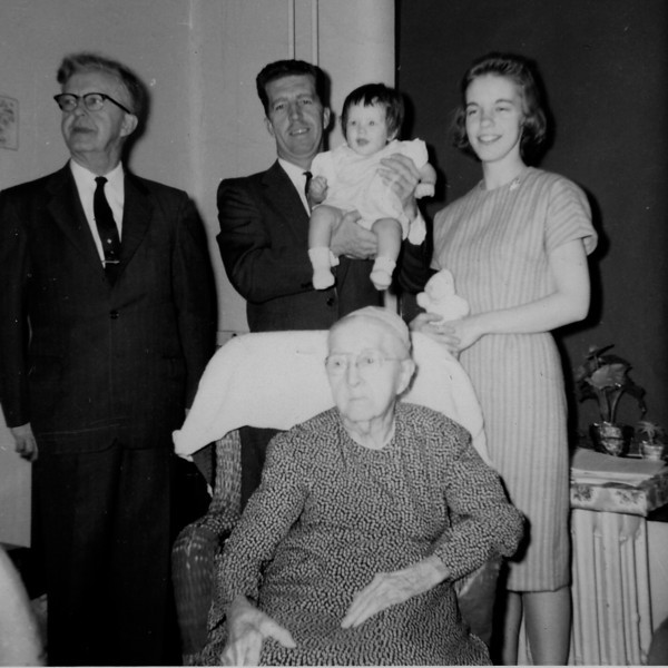 Five Generations: (L to R): Earl Hunsberger Sr. (68), Earl Hunsberger Jr. (44), Anna Lisa Histand (6 Mos.), Kathryn Hunsberger Histand (22), Katie Heacock Hunsberger (94) - Photo taken at Easter 1963