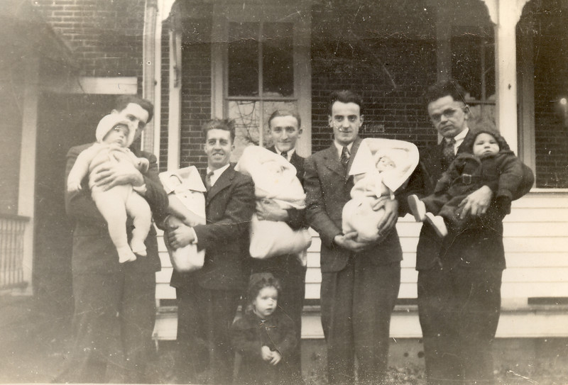 Grandpa with some brothers in law... left to right: Enos Detweiler (Mabel's husband), Earl Hunsberger Jr. (our mom's father), Norman Benner (Emma's husband), Bill (Aunt Hannah's husband), and John Detwiler (Aunt Sallie's husband)