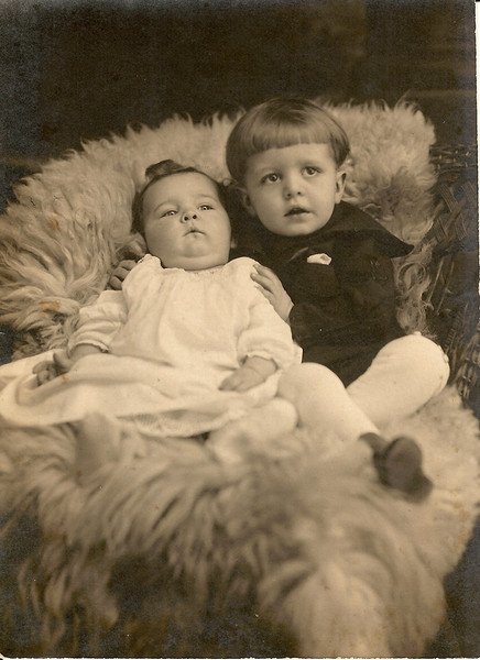 Our Grandpa Hunsberger, Earl Hunsberger Jr., with younger brother Harold (circa 1922) - Sepia version (i love this photo, & in it I see so much resemblance between Grandpa & my nephew Xavier.)