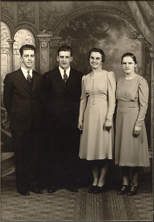 L to R: Earl Hunsberger Jr., George Moyer, Naomi Moyer, Lydia Detweiler Hunsberger (Earl and Lydia are our mother's parents) - 1955 Photo, probably George & Naomi's wedding