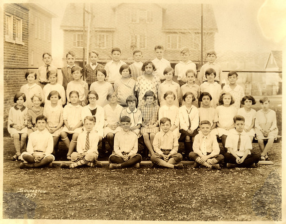 "Earl Hunsberger Jr. (Grandpa Hunsberger, our mother's father); front row, far right in a 1929 Souderton school photo. There's a ""5"" in the corner, so perhaps this is 5th grade."