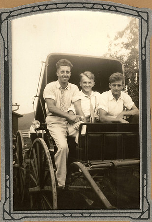Our Grandpa Hunsberger, Earl Hunsberger Jr., with Norm Benner (?) & George Moyer (if you can identify the guy in the middle, please contact me!) - Circa 1937 ?