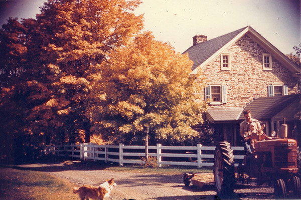 Our grandpa, Earl Hunsberger Jr., with son Bill at OberView Farm - Danboro, PA