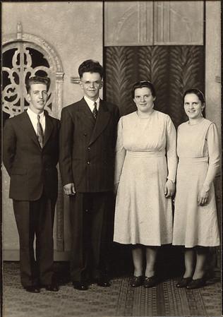 L to R: Earl Hunsberger Jr; John Detwiler; Sallie (nee Detweiler) Detwiler; Lydia Detweiler Hunsberger. Sallie is our mother's mother's sister (Lydia's sister). John is Sallie's husband. This is probably John & Sallie's wedding photo.