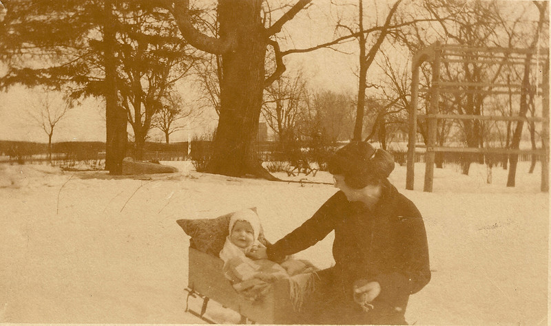 Our Grandpa Hunsberger, Earl Hunsberger Jr., at age 6 months with his mom, Estella (circa Mar.1920) - Sepia version
