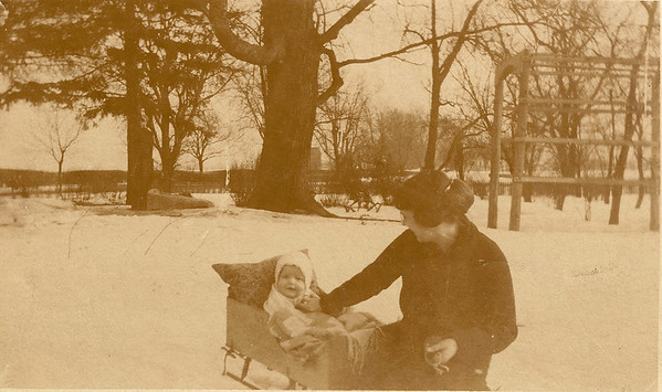 Our Grandpa Hunsberger, Earl Hunsberger Jr., at age 6 months with his mom, Estella (circa Mar.1920) - Sepia version