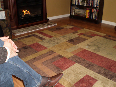 New fireplace and rug at Janet and J.R.'s