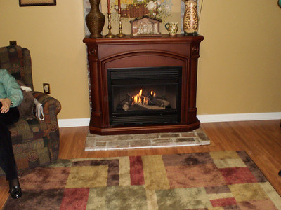 New flooring, walls, and fireplace
