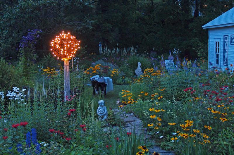 Lynn's garden at dusk.