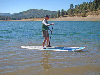 At brother Rolf's at Truckee, CA.  Trying out paddle boarding