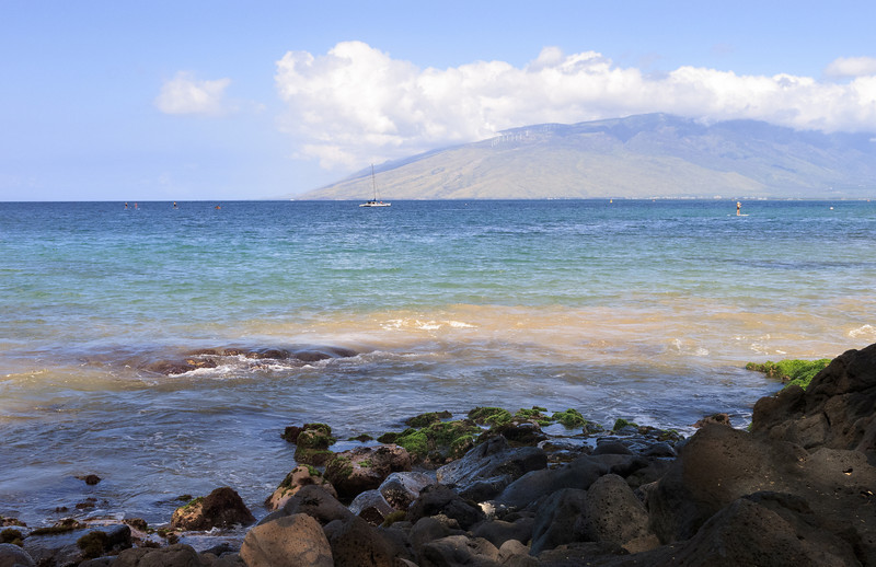 In the distance is a view of the west shore of Maui. Just around the bend are the really nice beaches in Kaanapali.