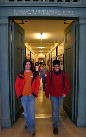 Walking through the infinite corridor at MIT.