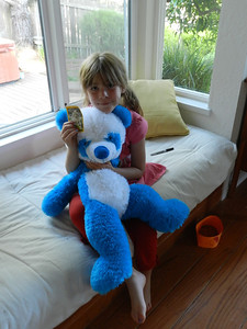 Stuffed animal trade - Sofia received Cucumber from Charlie (she had coveted it for years!)
