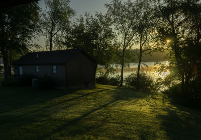 Sunrise at Atwood Lake. View from our cabin in the park.