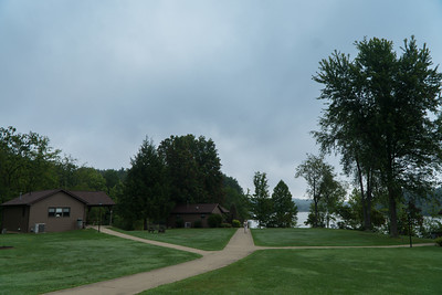 The rustic cabins at Atwood Lake Park.