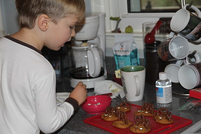 adding the eyes are his favorite - place one, eat one.....